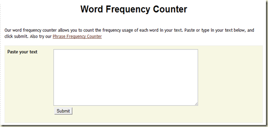 writing tools - word frequency counter